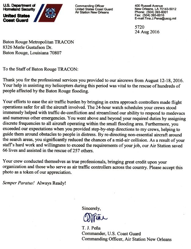 BTR Coast Guard Letter