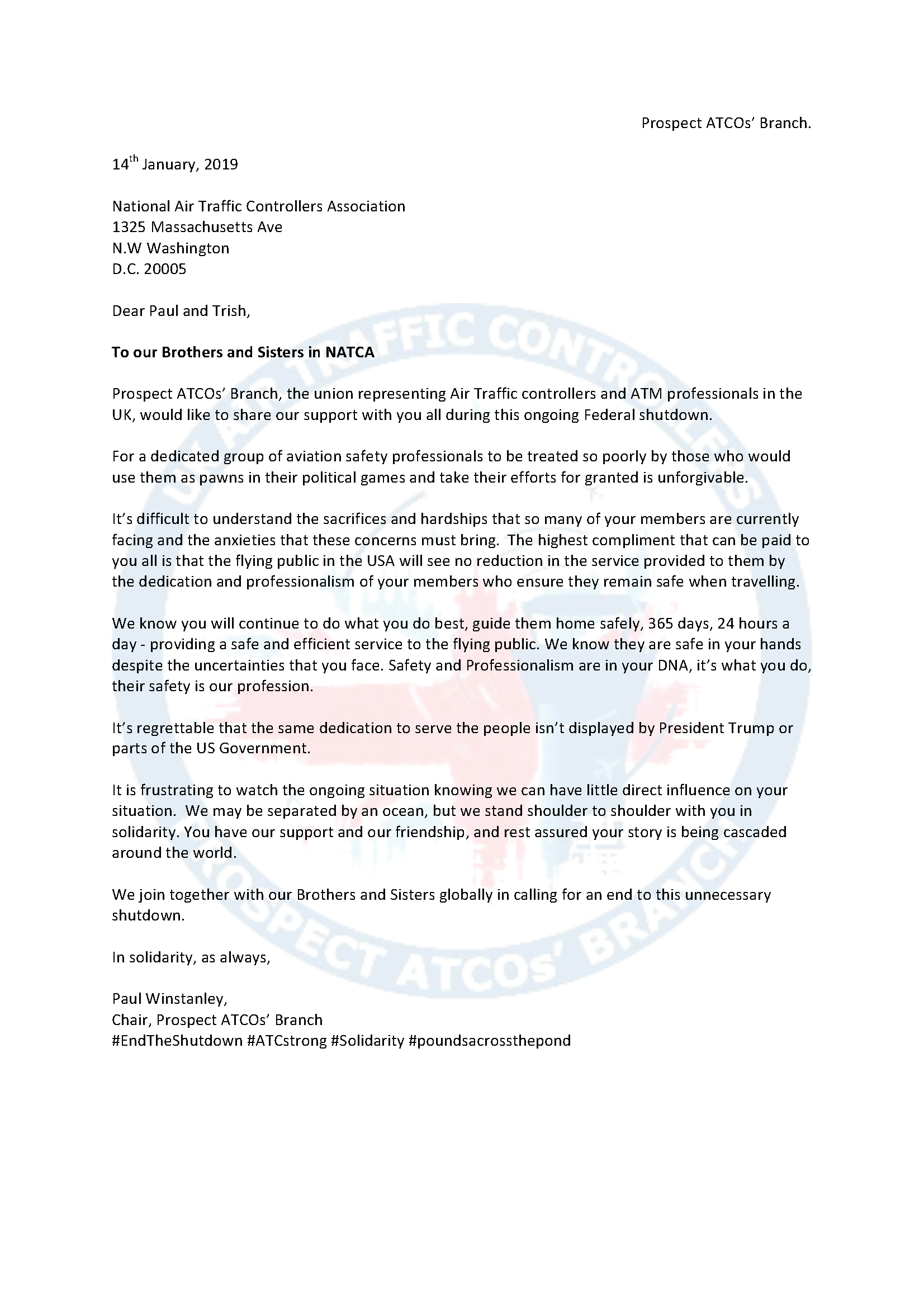 Shutdown Letter from Prospect