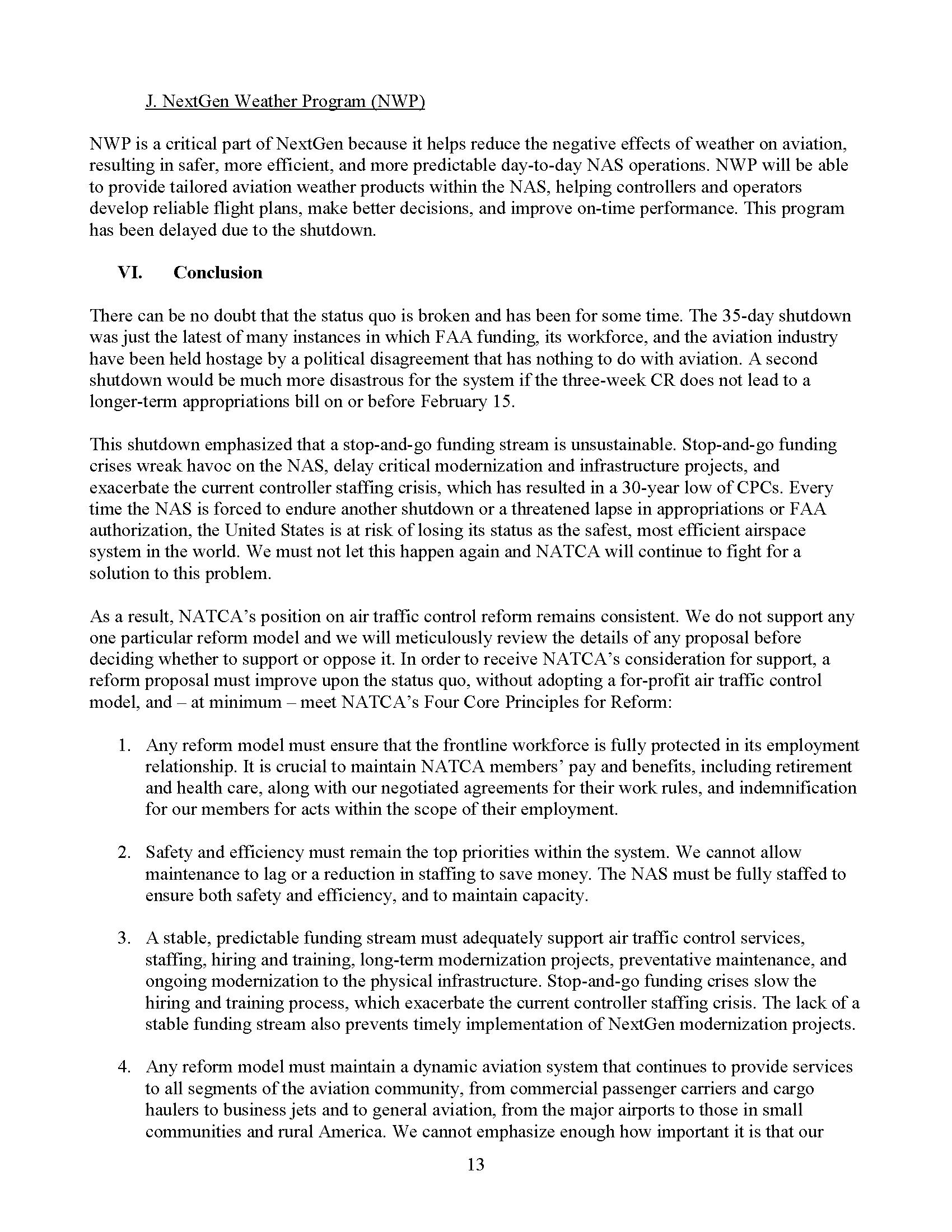 NATCA Paul Rinaldi Written Testimony for TI Aviation Subcommittee Feb 13 2019 FINAL Page 01