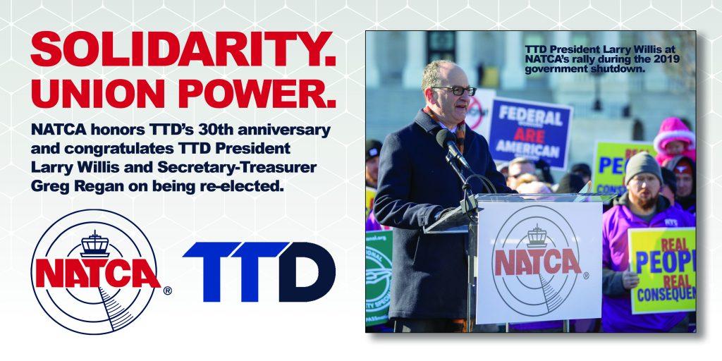 NATCA congratulates Larry Willis & Greg Regan on re-election, recognizes TTD's 30th anniversary